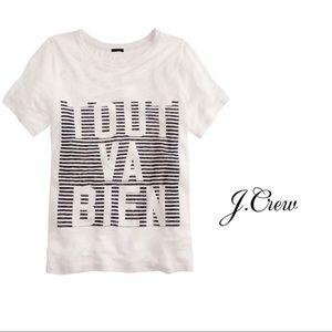 J Crew Linen Tort Va Bien White Tee Shirt